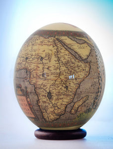 Decoupage cheetah ostrich egg
