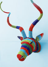 Load image into Gallery viewer, Striped multi-coloured beaded kudu head wall piece