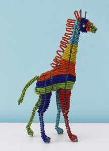 Multi-coloured African wire and bead giraffe