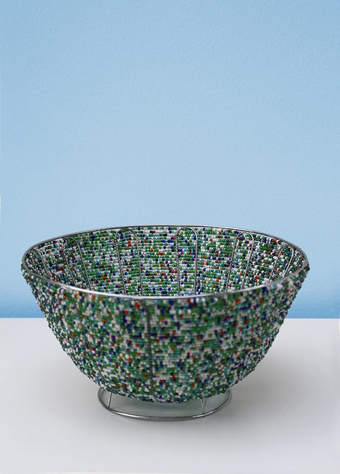 Colourful beaded bowl