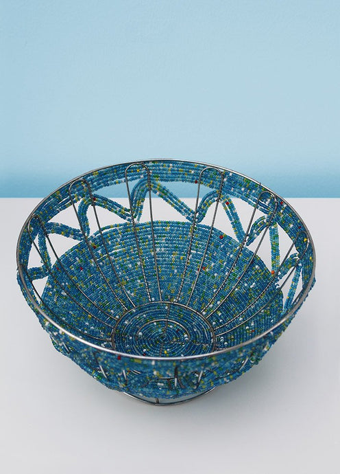 Blue green and red beaded bowl