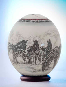 Classic ostrich decoupage eggshell with zebras