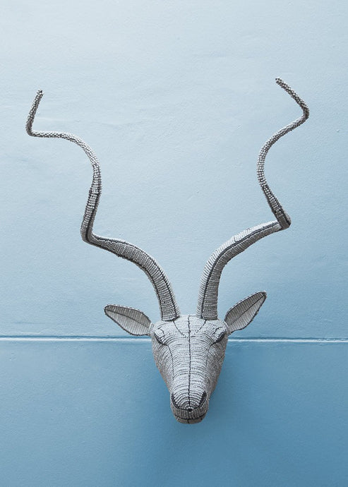 Classic white beaded kudu wall piece