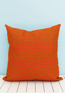 Contrasting Orange and green Shweshwe scatter cushion