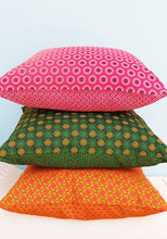 Load image into Gallery viewer, Contrasting Orange and green Shweshwe scatter cushion