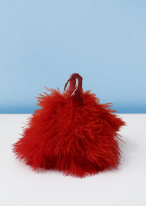 Red ostrich feather keyring