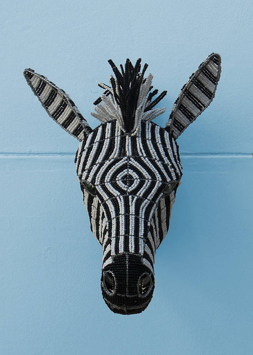African zebra wallpiece in beads and wire
