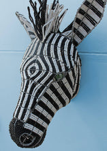 Load image into Gallery viewer, African zebra wallpiece in beads and wire