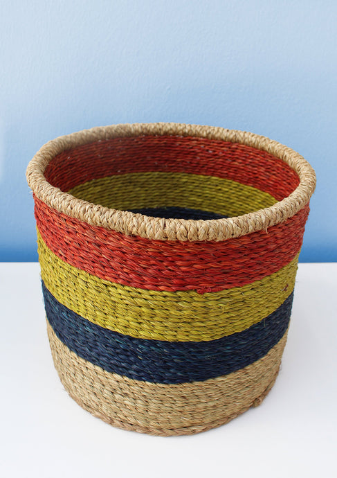 Multi-coloured African waste paper basket