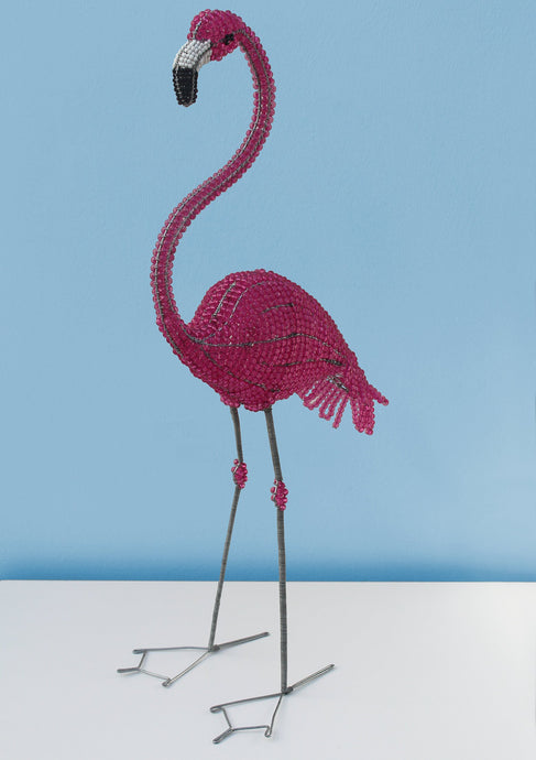 African wire and bead flamingo 73cm