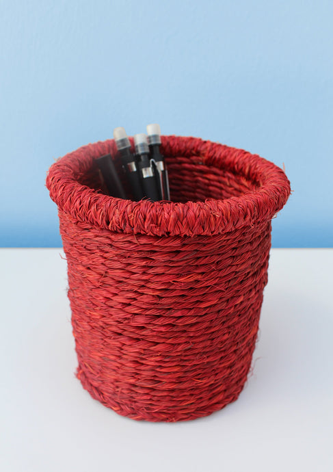 Swazi grass-woven red pencil basket