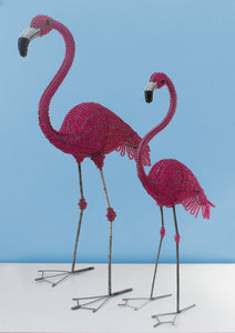 African wire and bead flamingo 90cm