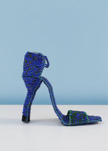 Dancing shoes in blue beads
