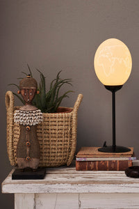 Protea flower themed ostrich egg lamp