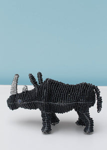 Black and white beaded African rhinoceros