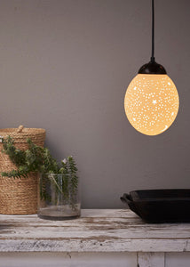 Natural ostrich eggshell pendant light