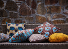 Load image into Gallery viewer, Turquoise, yellow and maroon Java African wax print scatter cushion