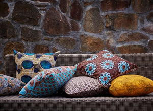 Turquoise, yellow and maroon Java African wax print scatter cushion