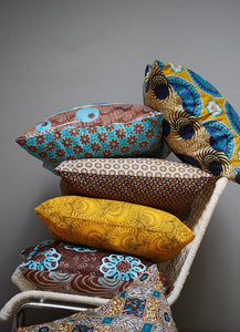 Turquoise & brown Java African wax print scatter cushion