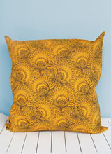 Load image into Gallery viewer, Canary yellow and black Shweshwe scatter cushion