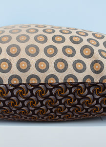 Brown and yellow African Shweshwe print scatter cushion