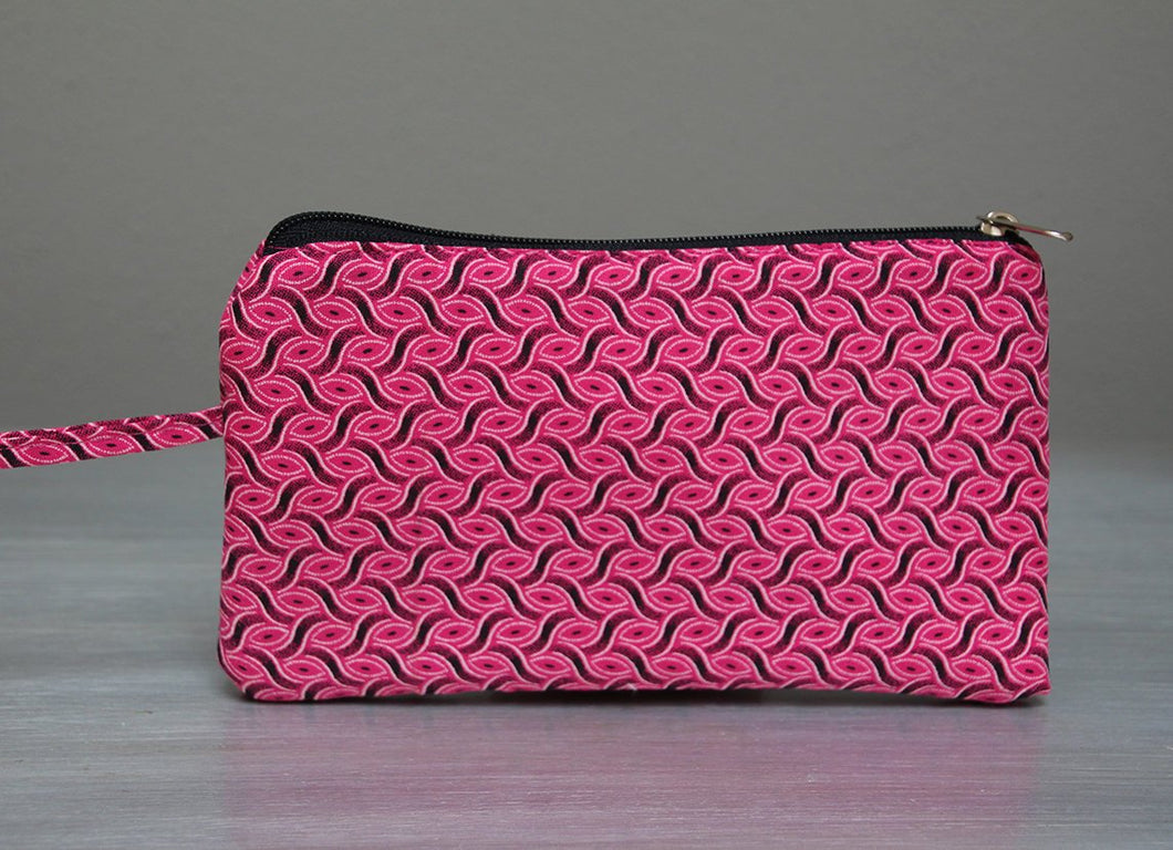 Pink and black African Shweshwe purse