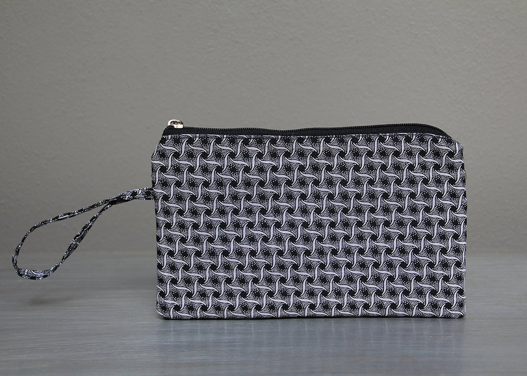 Black with white African Shweshwe purse
