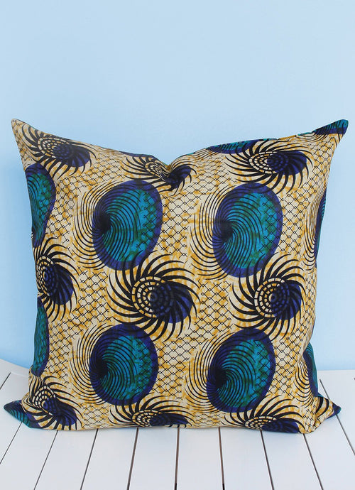 Turquoise & black Java African wax print scatter cushion