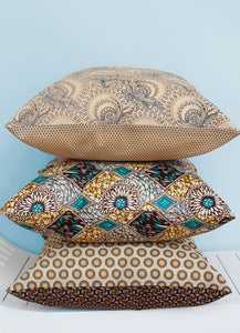 Cream, orange and black Shweshwe scatter cushion