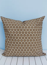 Load image into Gallery viewer, Brown and yellow African Shweshwe print scatter cushion