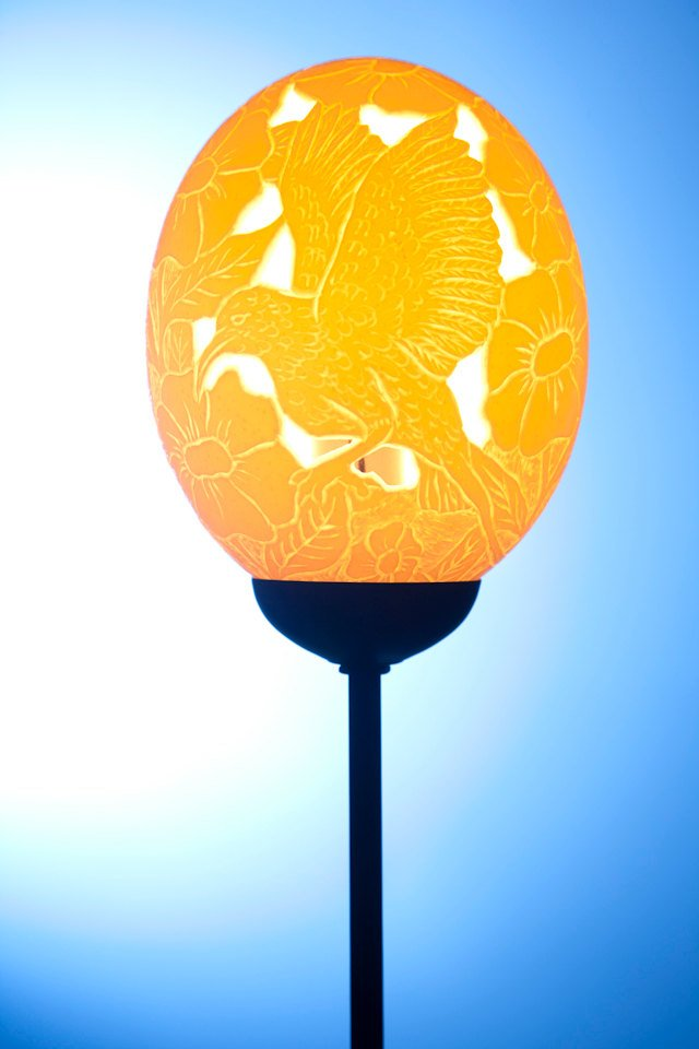 Hummingbird Flower themed ostrich egg Lamp