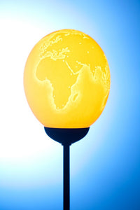 World map themed osrich egg lamp