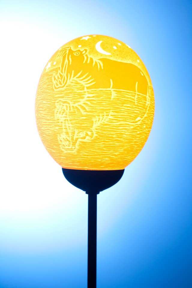 African Hippo themed ostrich egg lamp
