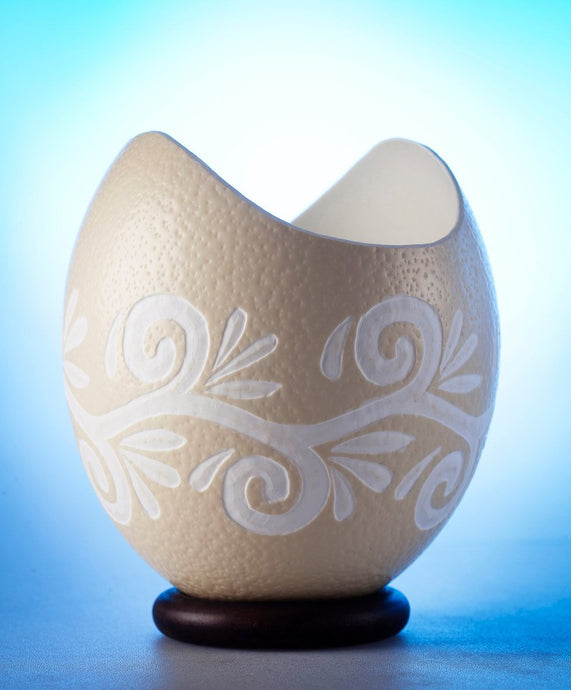 Curved edge ostrich egg bowl