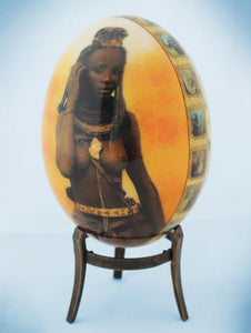 Decoupage African venda girl & Africa map ostrich egg