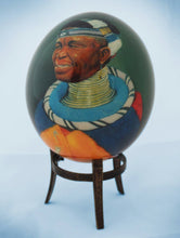 Load image into Gallery viewer, Decoupage African venda men ostrich egg