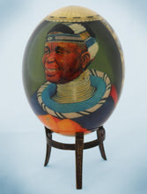 Load image into Gallery viewer, Decoupage African venda man and Africa map ostrich egg