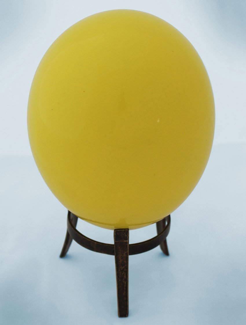 Yellow-glazed ostrich egg