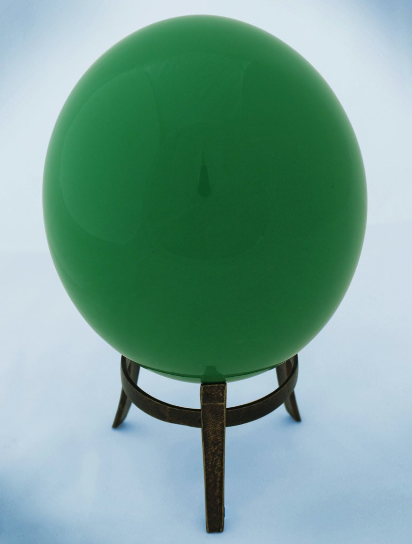 Green-glazed ostrich egg