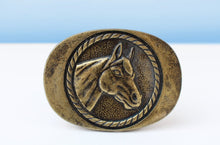 Load image into Gallery viewer, Brass horse belt buckle
