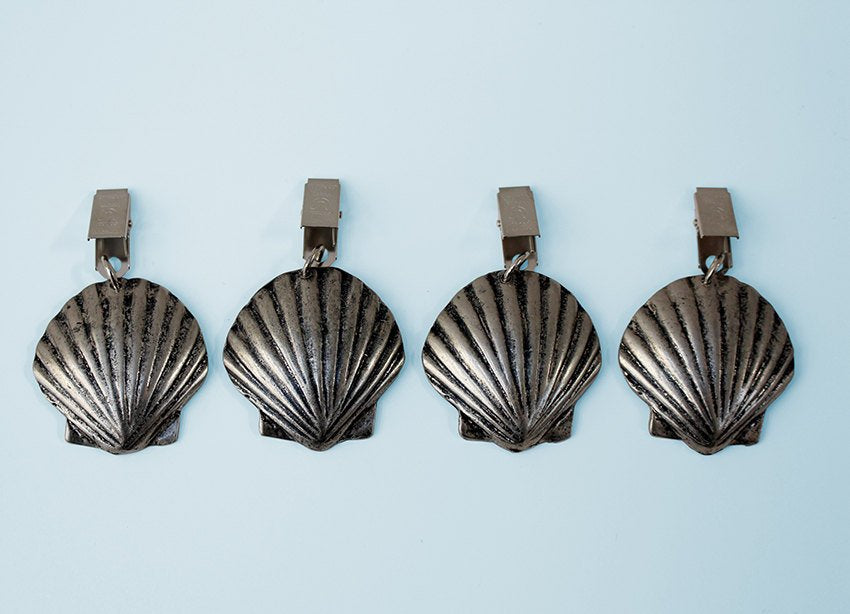 Seashell antique nickel tablecloth weights