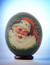 Load image into Gallery viewer, Green Father Christmas decoupage egg