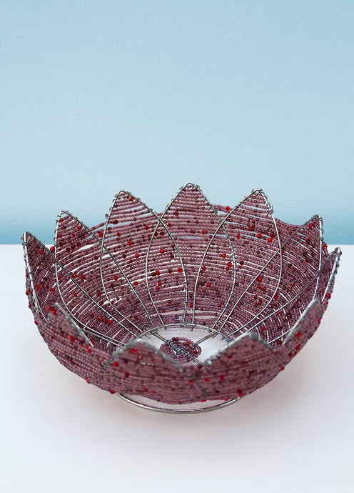 African beaded flower petal bowl
