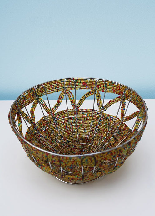 Colourful African wire and bead bowl