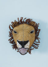 Load image into Gallery viewer, African lion wallpiece in beads and wire