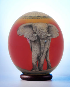 Elephant and map decoupage ostrich eggshell