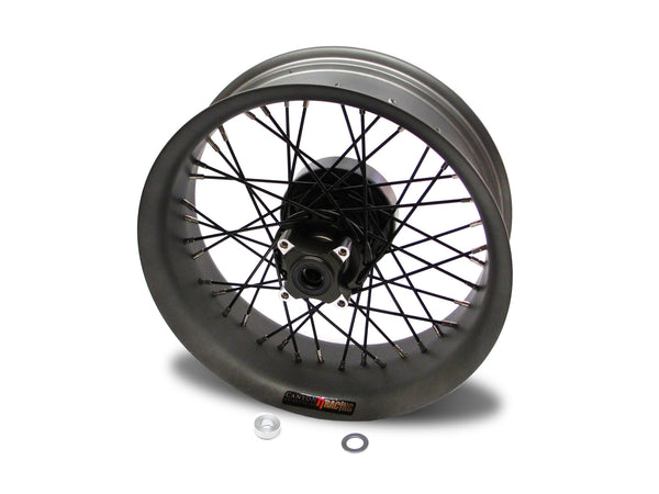 THRUXTON R WIDE 'PROFILES' 17X5.5 17X3.5 ANODIZED BRONZE HUBS,FLAT BLACK CHROME RIMS.REAR.JPG
