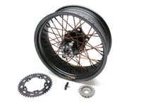 MAG CONVERSION CUSTOM 17'S WIDE, DENIM BLACK HUBS, COPPER SPOKES DENIM BLACK NIP