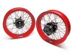 TT BOBBER 16 X 3.0 FRONT AND REAR, FLAT RED STEEL DIMPLED RIMS, STAINLESS SPOKES