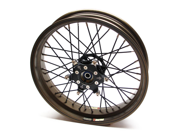 THRUXTON TT CUSTOM 18'S WIDE [DENiM BLACK HUBS, SPOKES, STAINLESS NIPPLES, SATIN